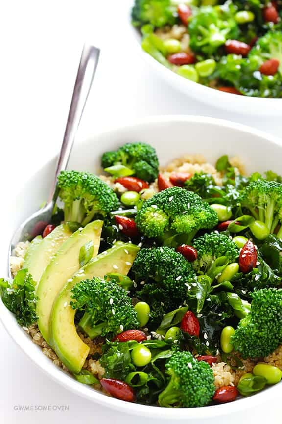 easy asian superfood quinoa bowl recipe with broccoli and avocado