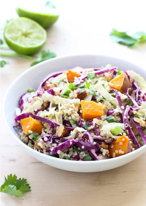 crunchy quinoa power bowl recipe with sweet potato and cabbage