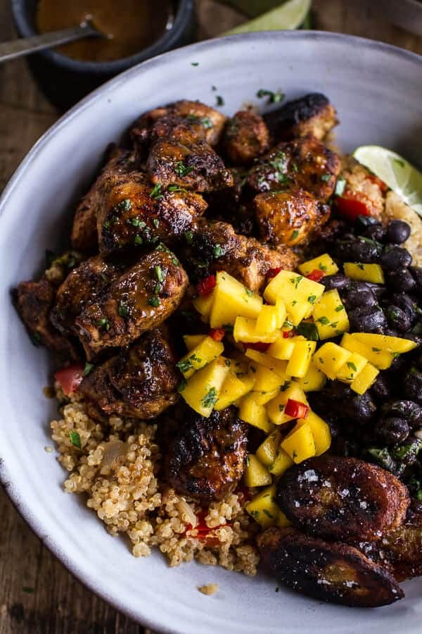cuban chicken quinoa bowls with black beans and mango