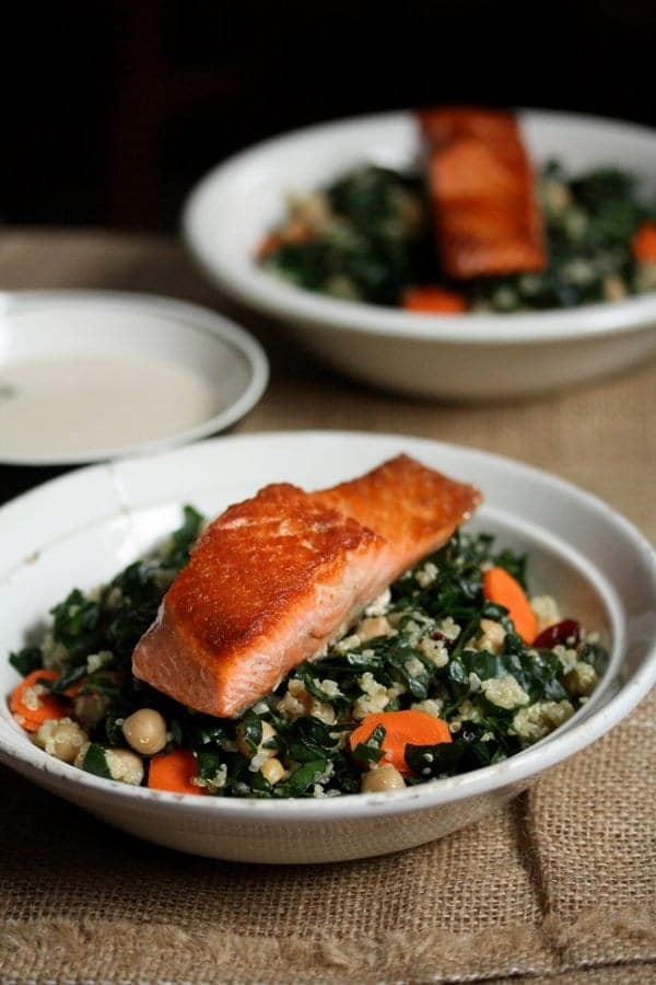healthy kale and salmon quinoa bowls