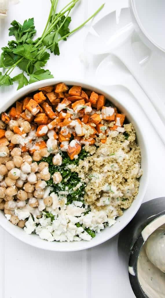 kale quinoa bowls with sweet potato and chickpeas