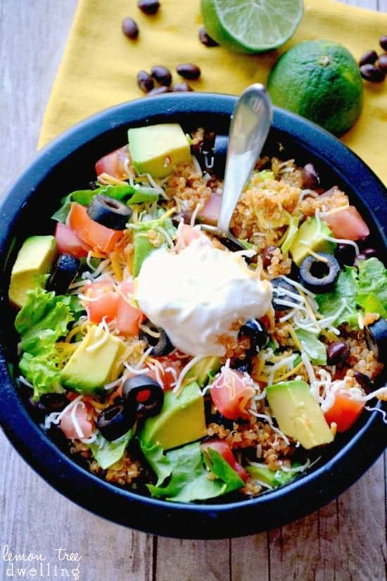 healthy quinoa taco bowl with black beans and avocado