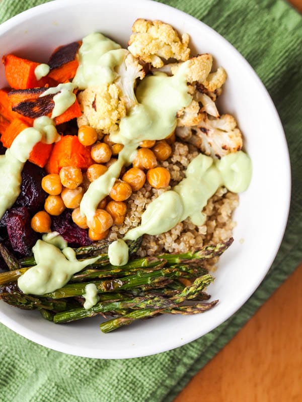 easy quinoa power bowls with chickpeas and roasted veggies