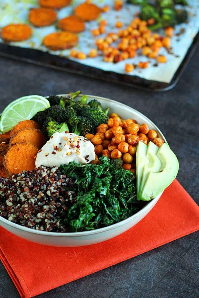 roasted veggie quinoa bowl recipe with crispy chickpeas