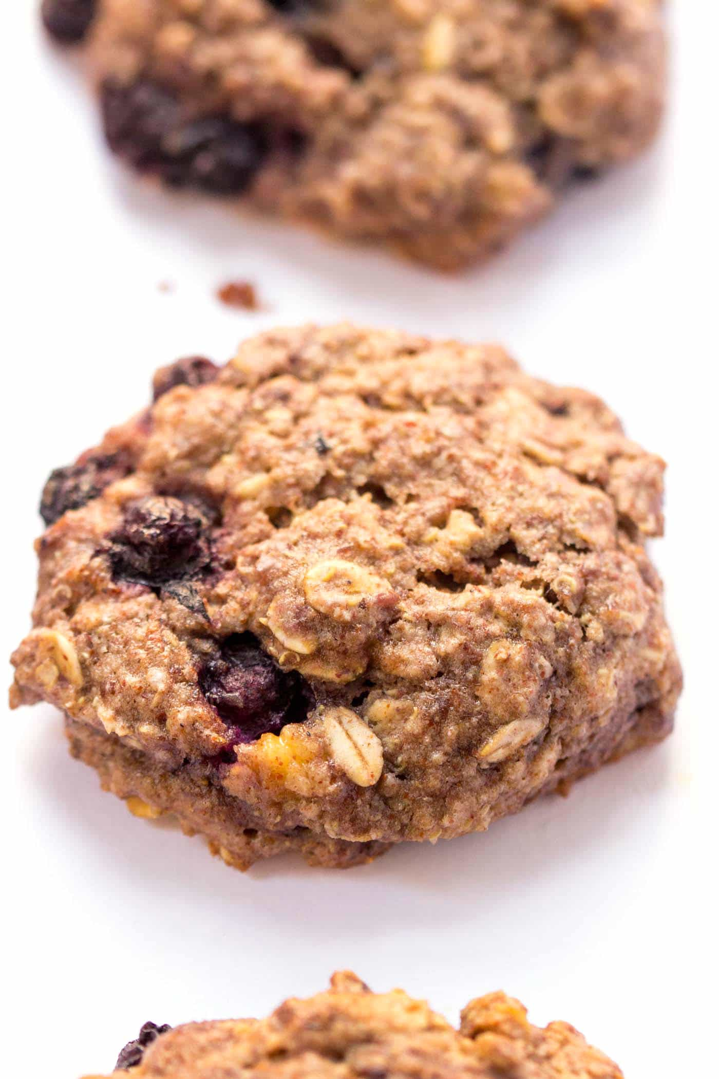 These VEGAN quinoa breakfast cookies taste like blueberry muffins but are SO much healthier! High protein, high fiber and low in sugar (also gluten-free!)