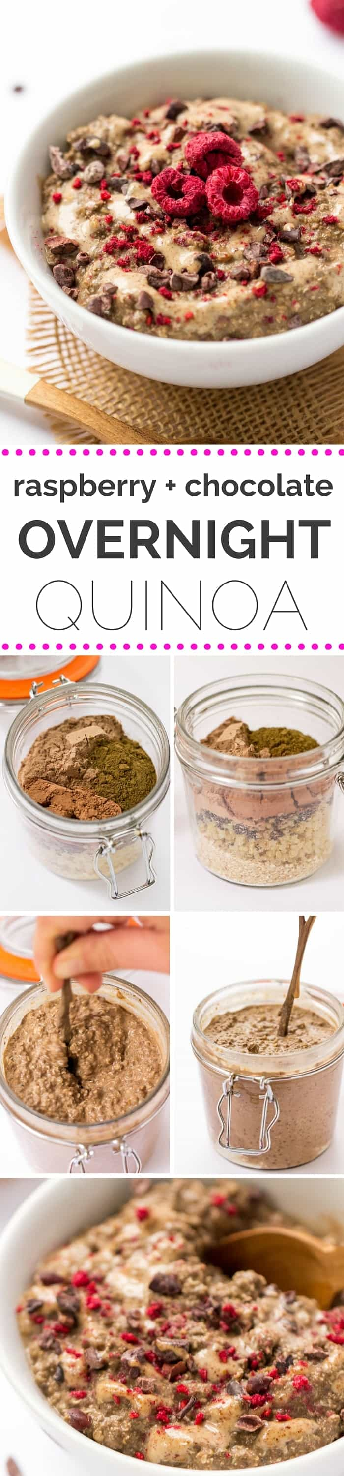 Getting bored of overnight oats? Time to try OVERNIGHT QUINOA! Higher protein, faster to make and every bit as delicious (especially when chocolate is involved) -- gluten-free + vegan