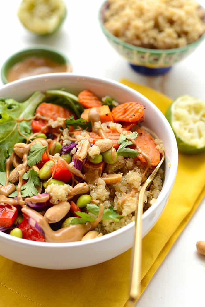 thai coconut quinoa bowls with veggies