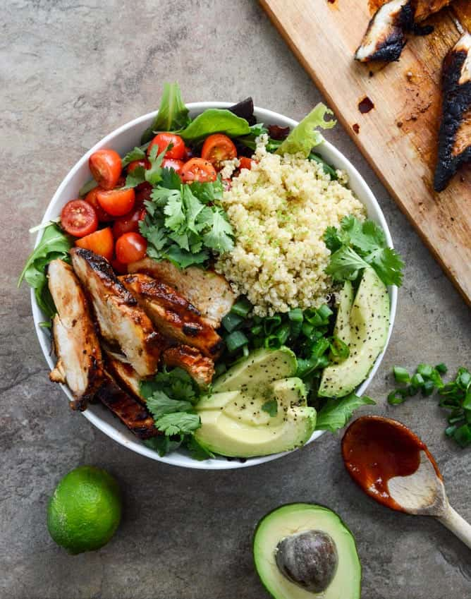 honey chipotle chicken quinoa bowl recipe