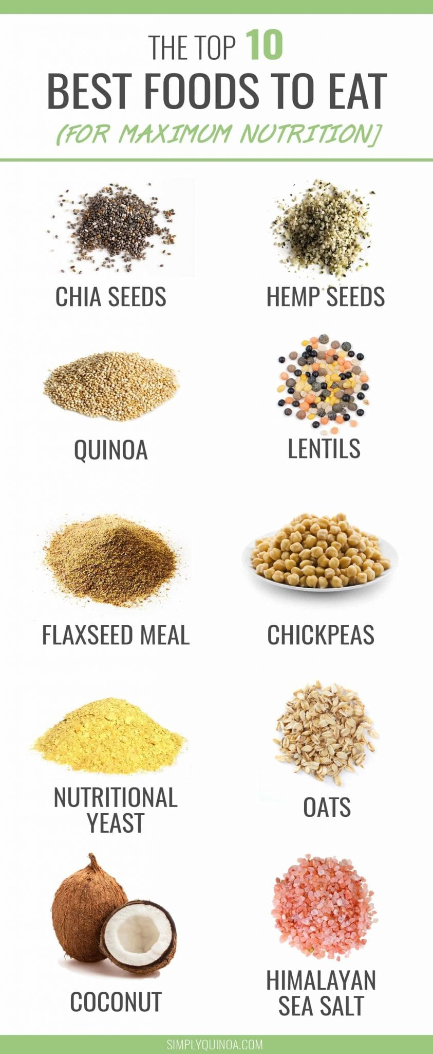 10 BEST BEST FOODS TO EAT -- maximize the nutrition of every meal by adding one of these super power ingredients! They're healthy, delicious AND filled with essential vitamins and minterlas