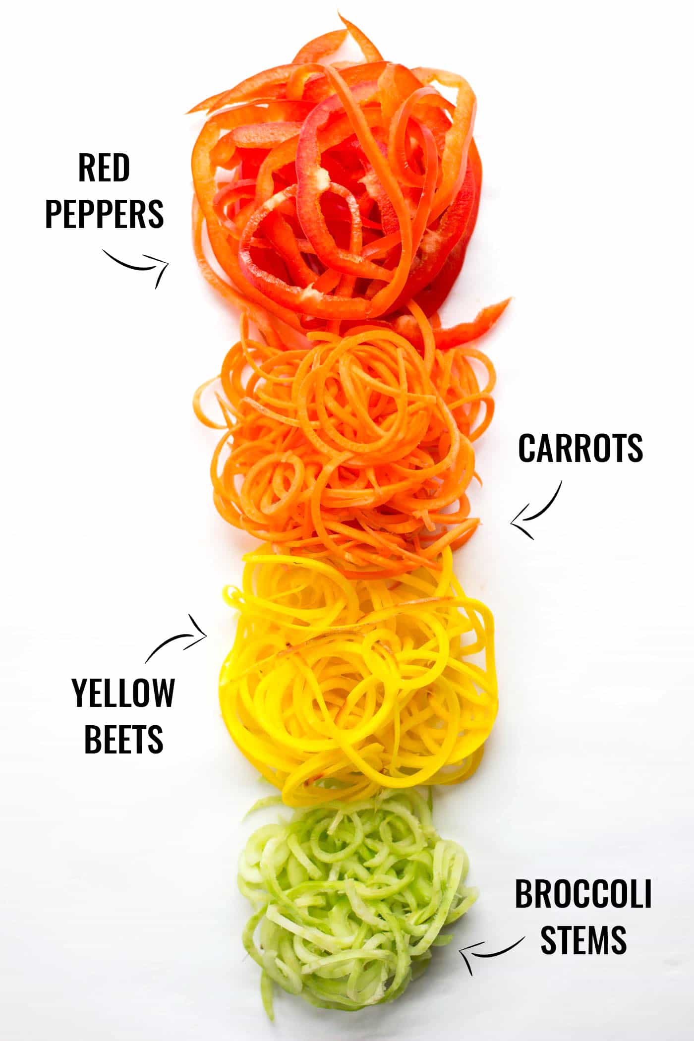 A gorgeous rainbow of spiralized veggies!