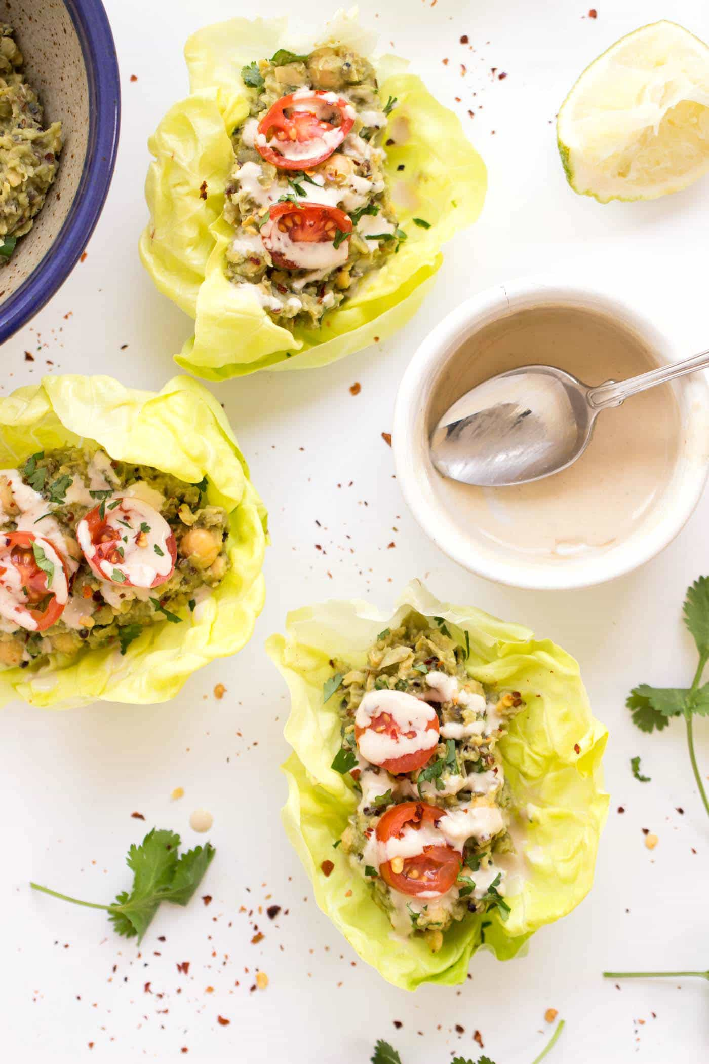 SMASHED CHICKPEA + QUINOA LETTUCE WRAPS -- swap out the mayo for healthy avocado, add in some cilantro and lime juice and you've got the PERFECT healthy lunch!