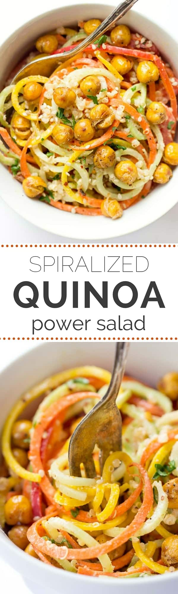 QUINOA POWER SALAD with spiralized carrots, beets and peppers PLUS crispy roasted chickpeas and an almond butter dressing [vegan + gf]