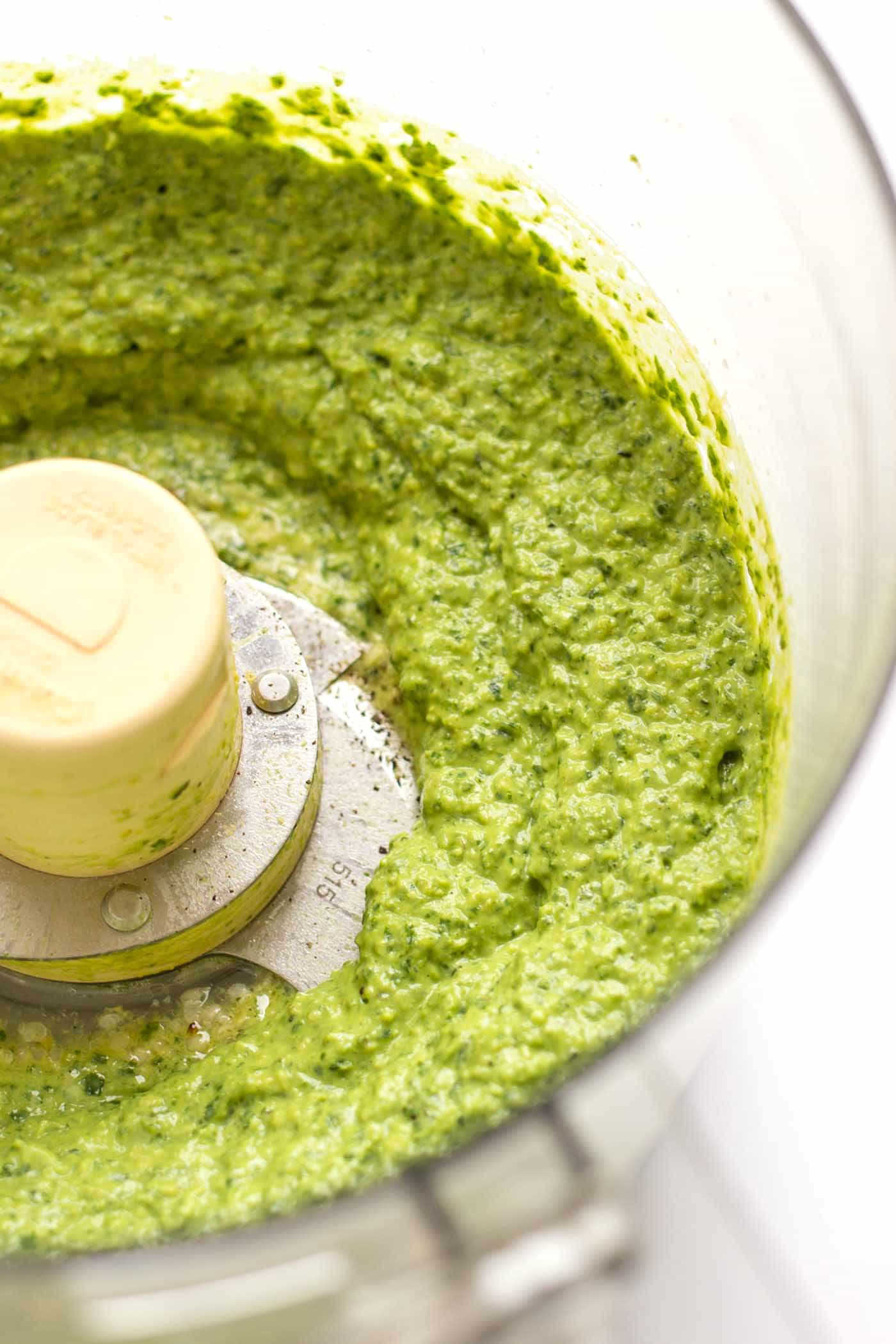 This VEGAN pesto is made with hemp seeds and avocado so it's flavorful AND super healthy!
