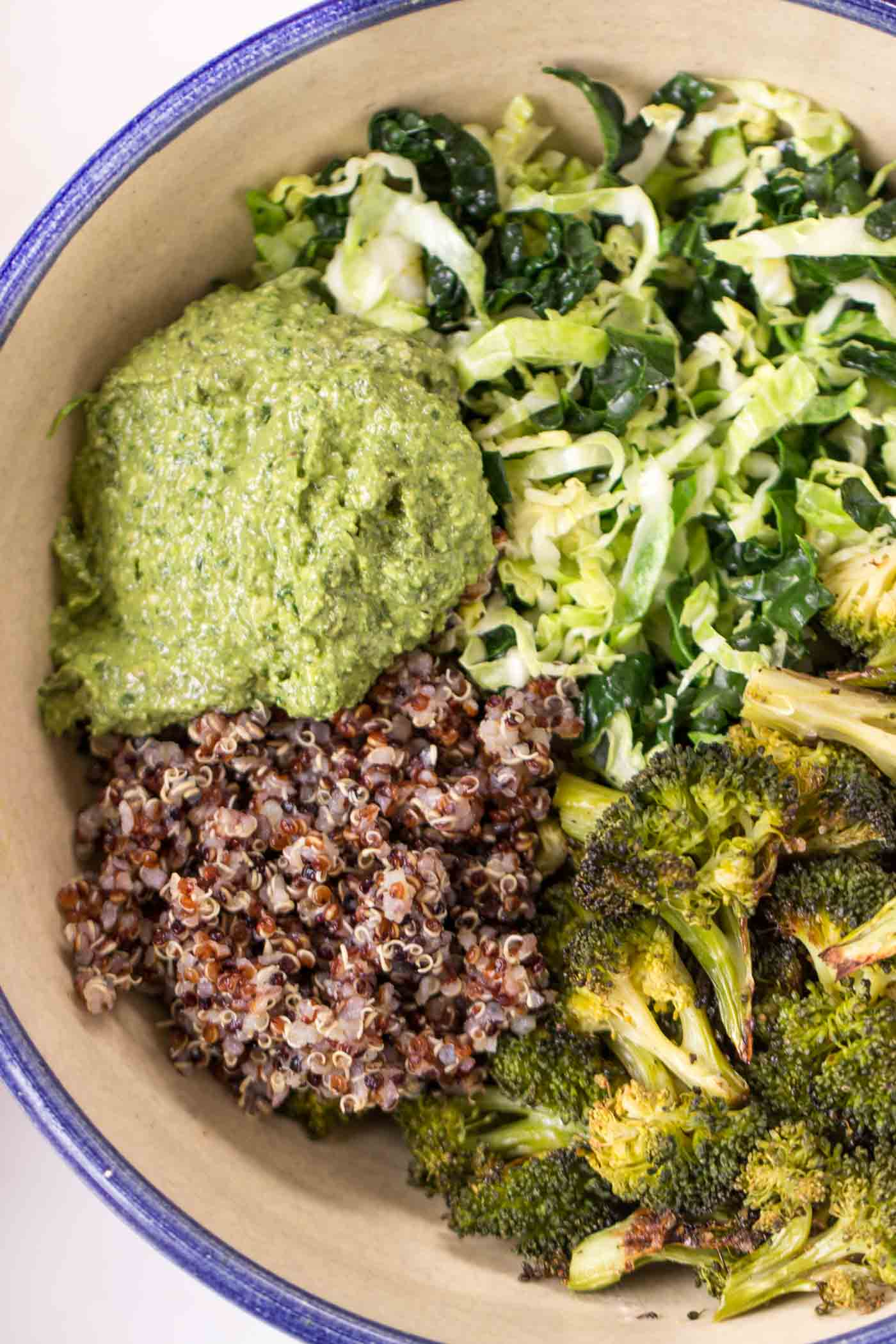 Hempseed Pesto Quinoa Bowls with all kinds of green veggies - kale, broccoli, brussels sprouts and more! {vegan}