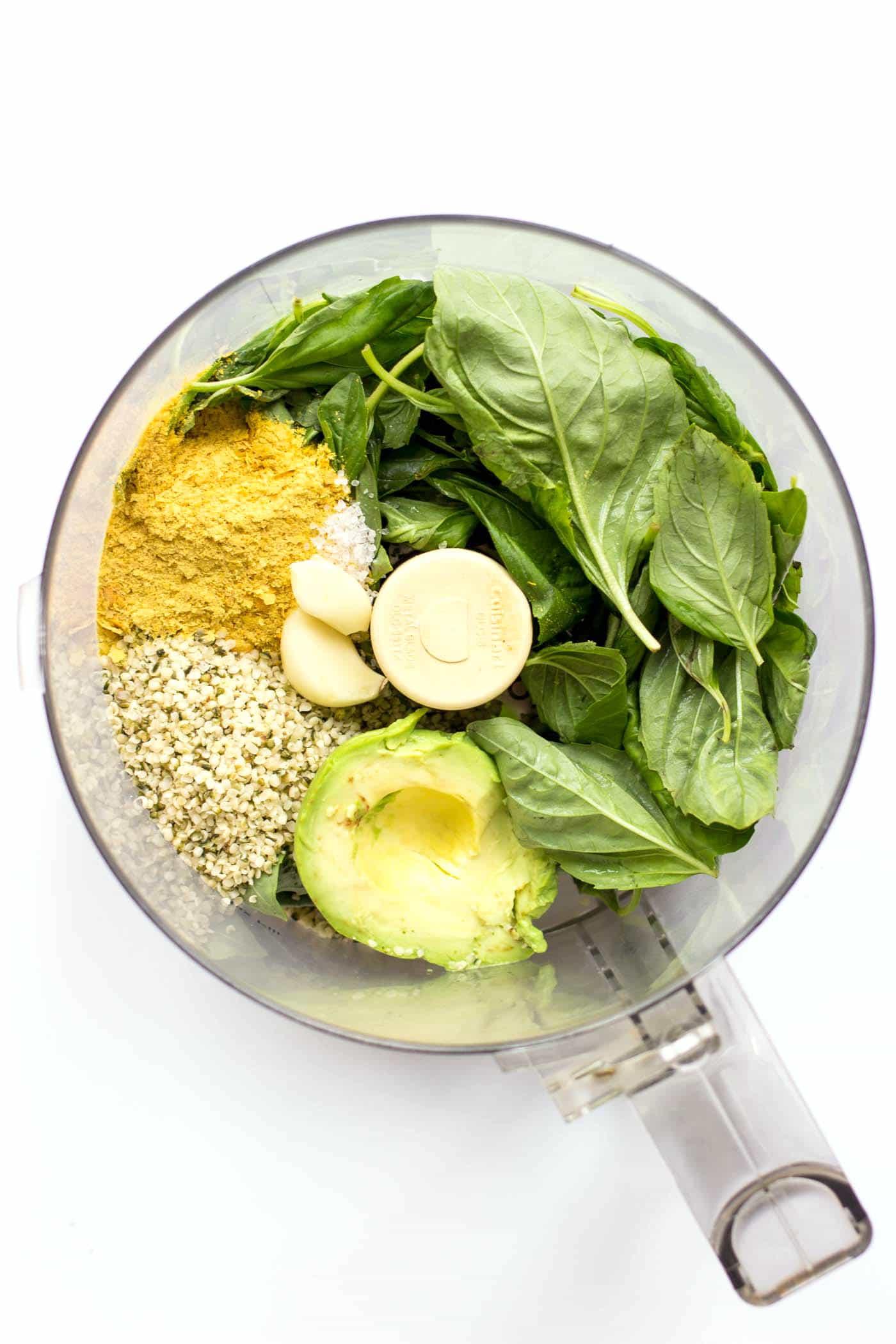 How to make vegan hemp seed pesto using avocados and nutritional yeast!