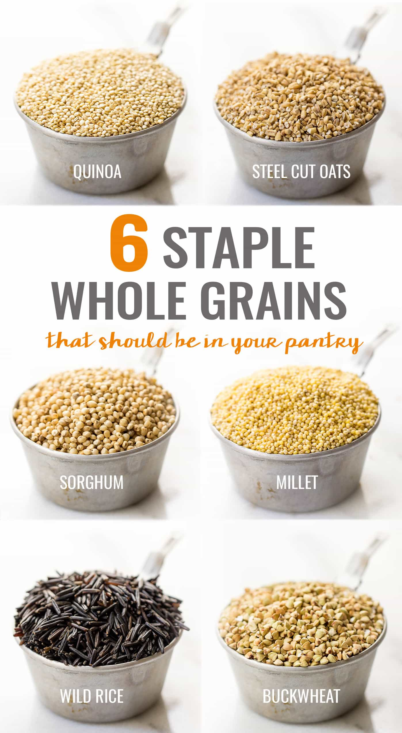 6 Staple Whole Grains that Should Be In Your Pantry...all high protein, high fiber and naturally gluten-free!