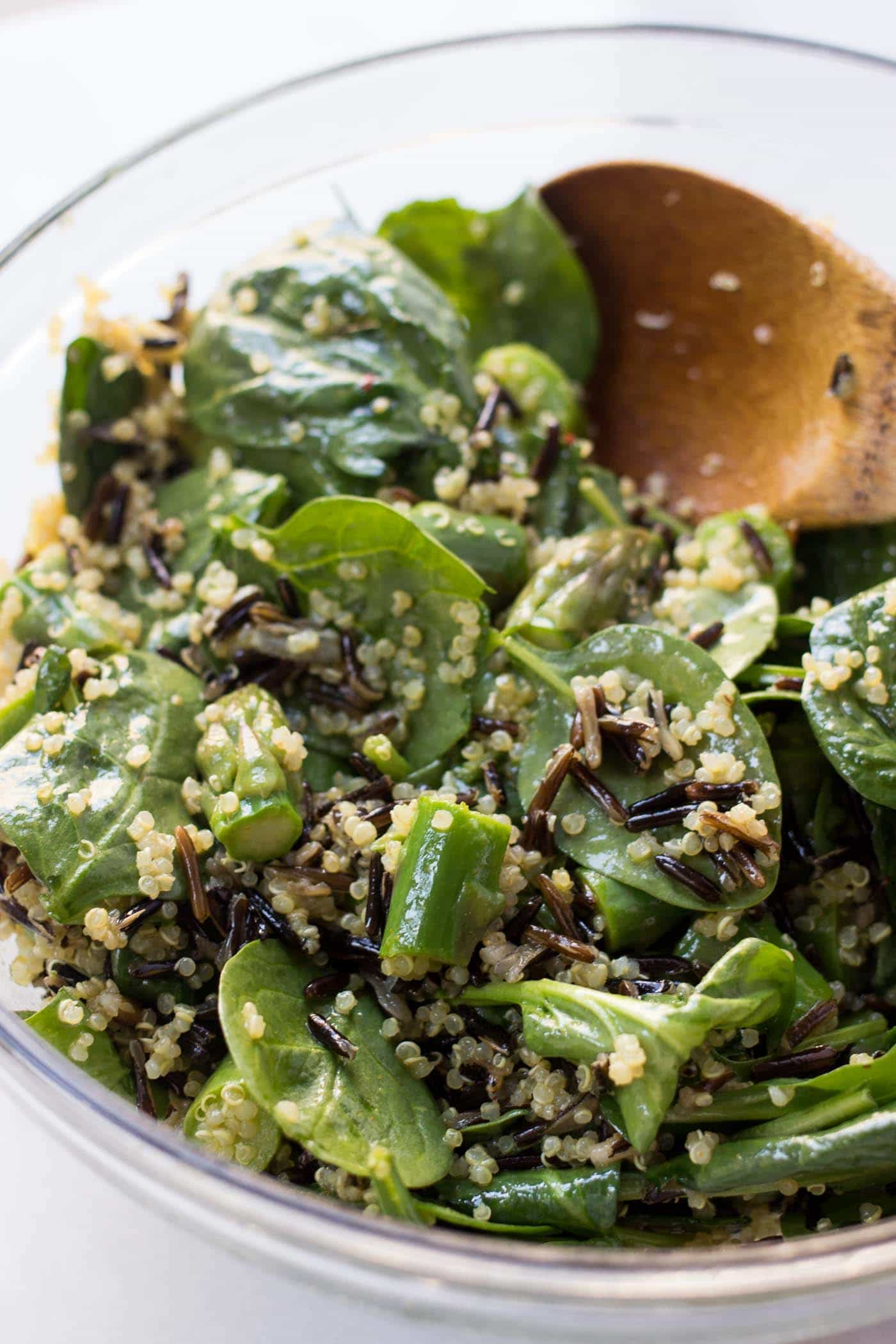 The BEST wild rice quinoa salad you've ever had -- tossed in an anti-inflammatory vinaigrette with lemon + turmeric
