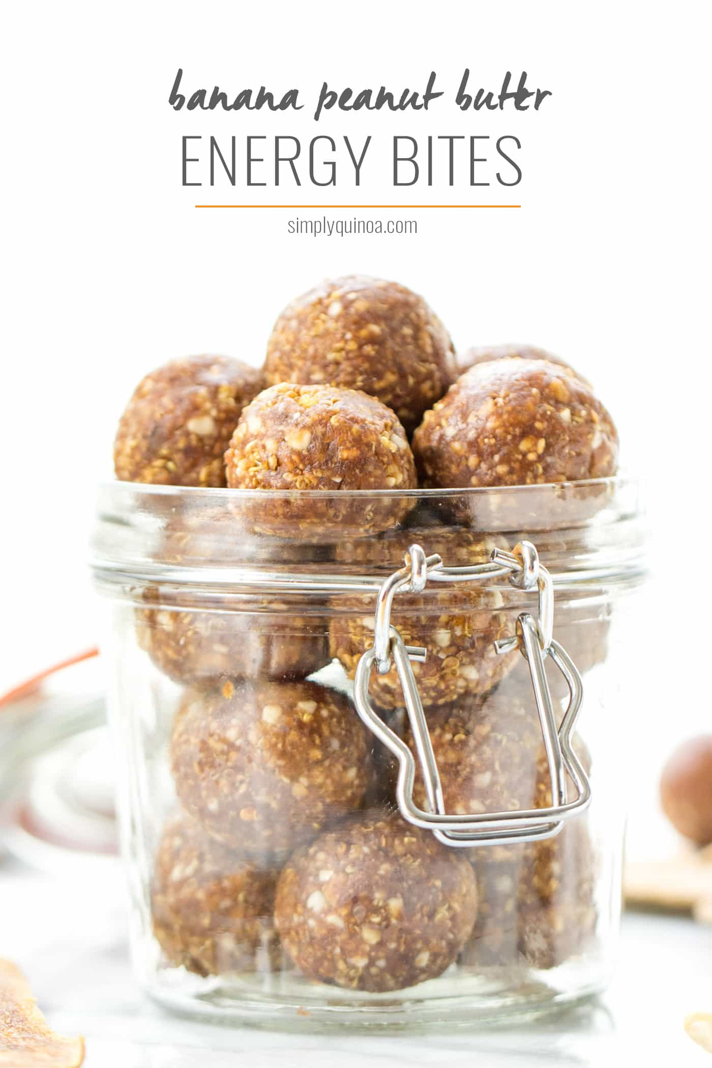 The perfect snack >> Banana Peanut Butter Energy Bites!! made with only a few simple ingredients, they're healthy, energizing and DELICIOUS!