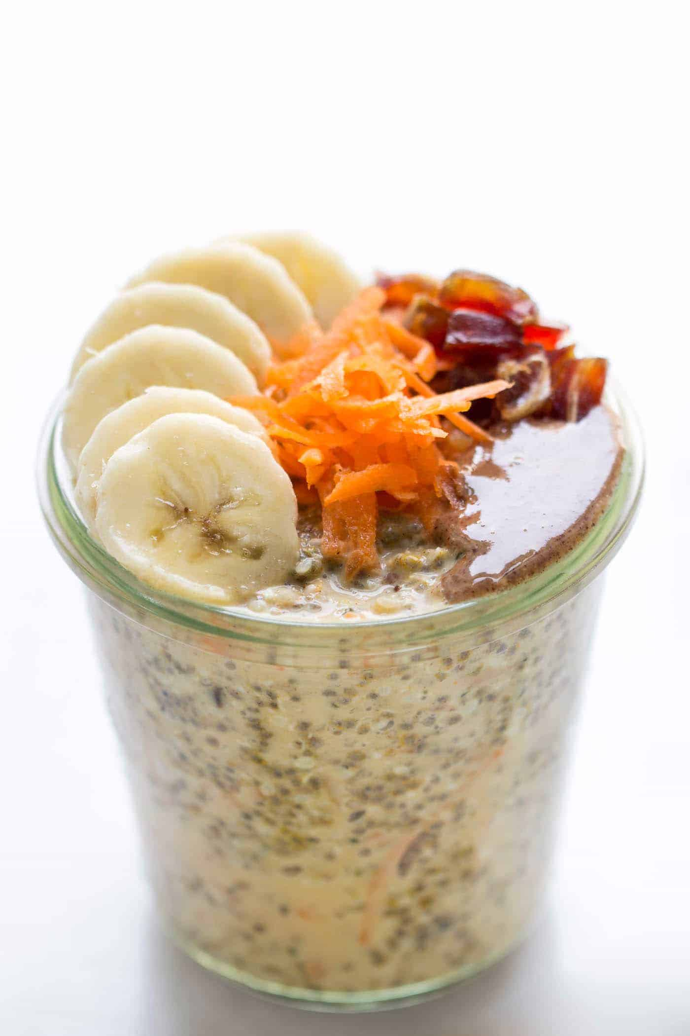 Carrot Cake Chia Pudding...with 12 grams of protein per serving WITHOUT the use of any protein powders! [vegan]