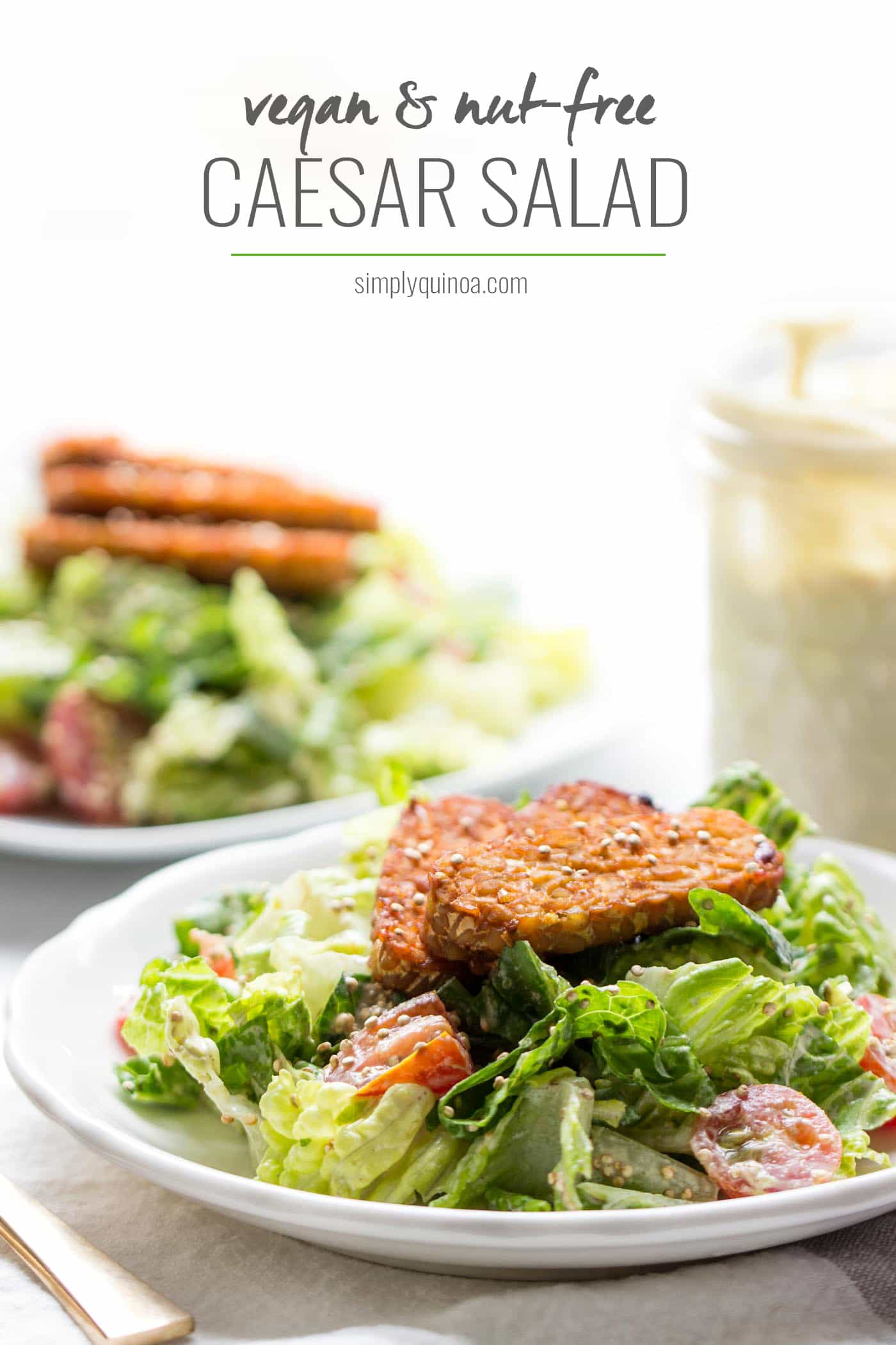 Nut-Free Vegan Caesar Salad! This is the most EPIC salad I've ever tasted -- it's amazing!!!