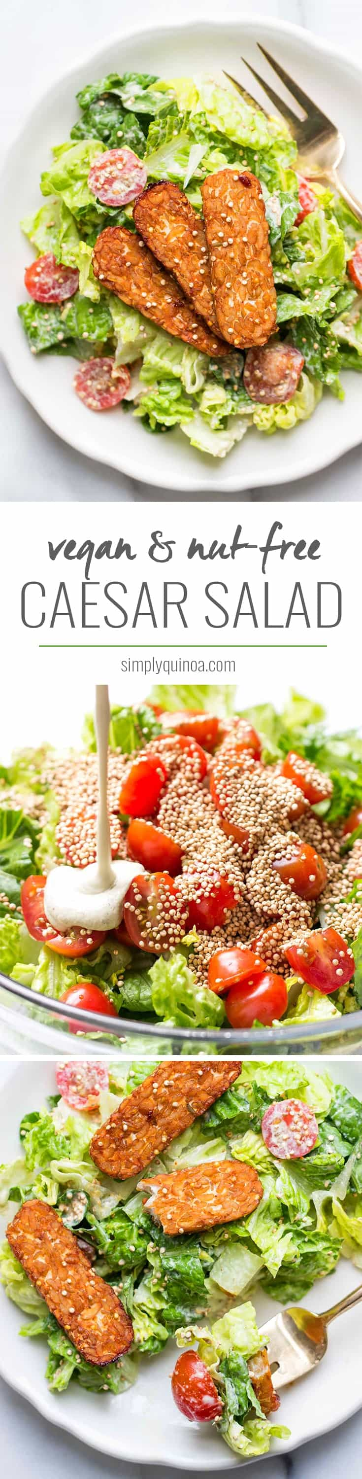Vegan Caesar Salad! Made with a cashew-less dressing and topped with smoky baked tempeh strips! This is so healthy and SO FLAVORFUL!