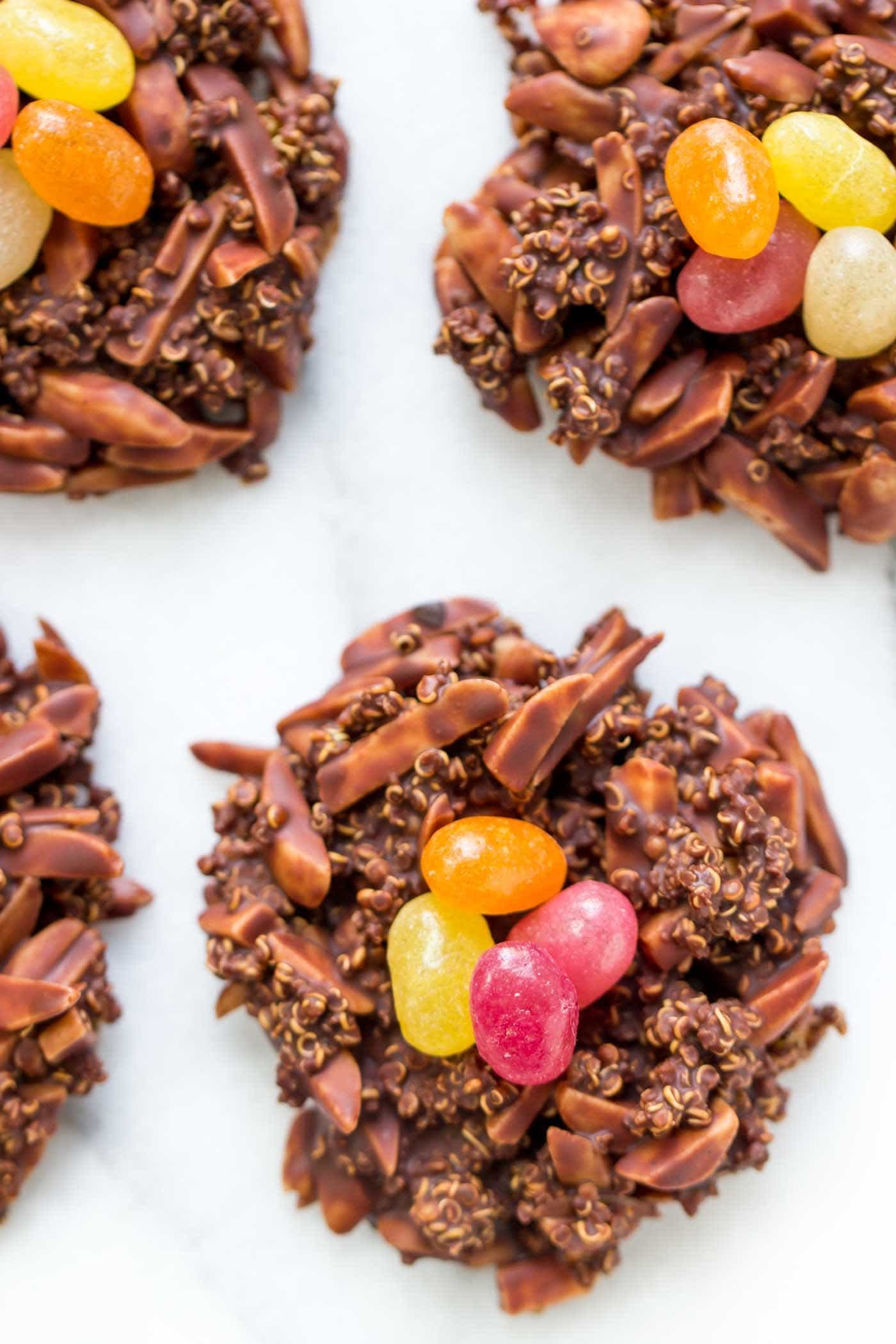 The HEALTHIEST chocolate birds nest cookies EVER! These are vegan and gluten-free, only take 5 ingredients AND have protein-rich quinoa!