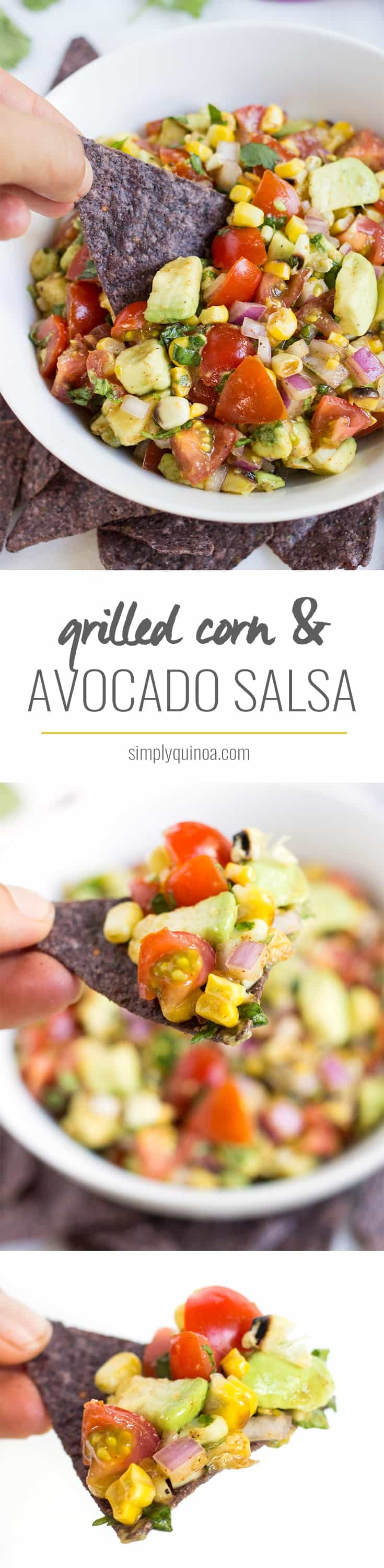 GRILLED CORN + AVOCADO SALSA -- the perfect dip that combines char grilled corn with buttery avocados. Use this as a dip, on top of tacos or served over eggs!