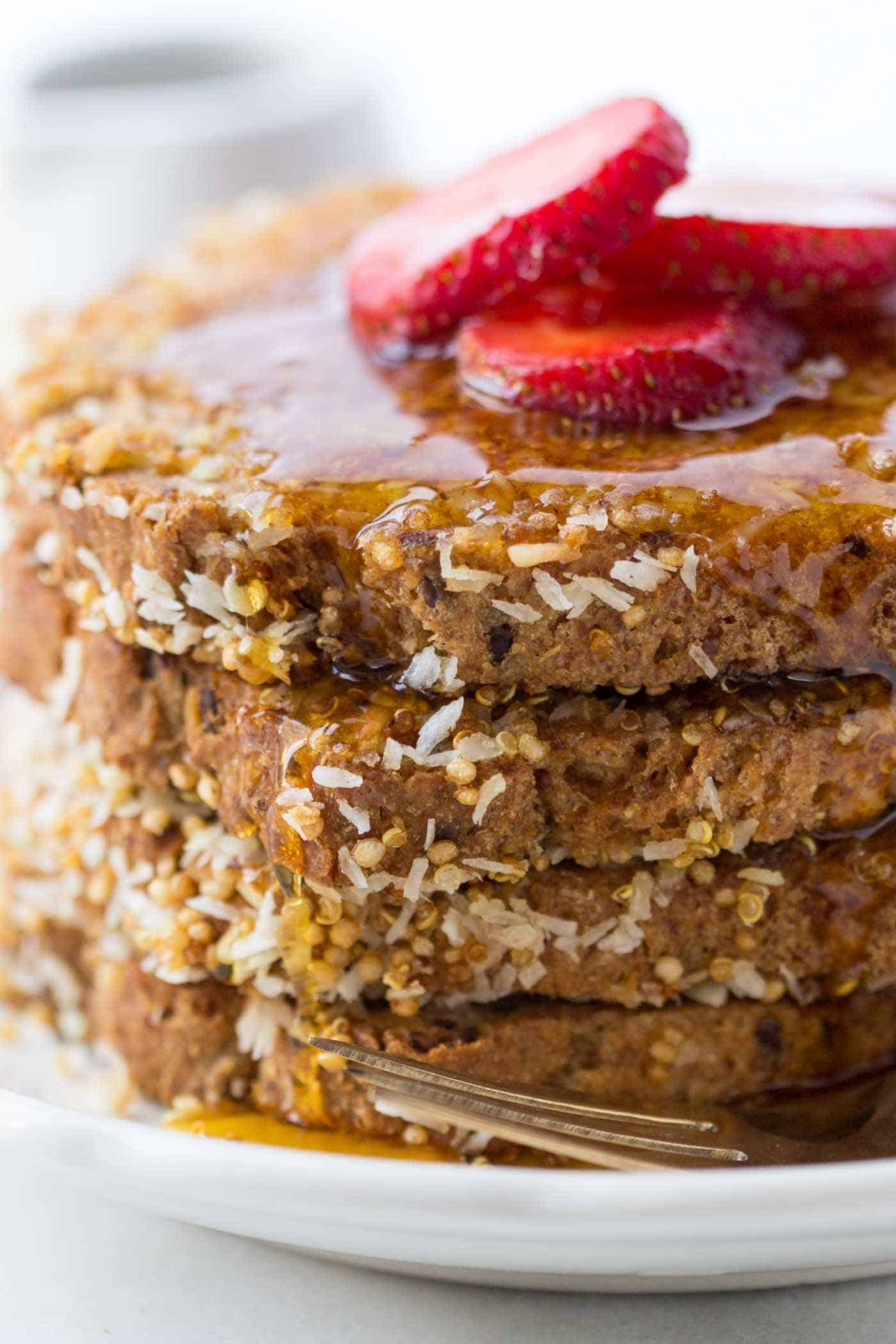 VEGAN FRENCH TOAST crusted in coconut and quinoa...so simple and just the most decadent way to star the day!