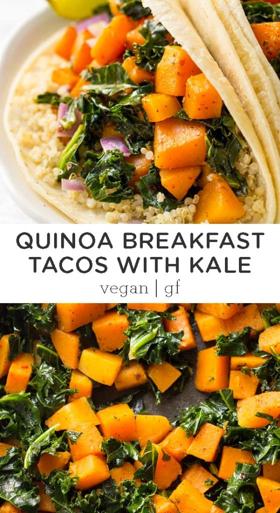 quinoa breakfast tacos with kale and butternut squash