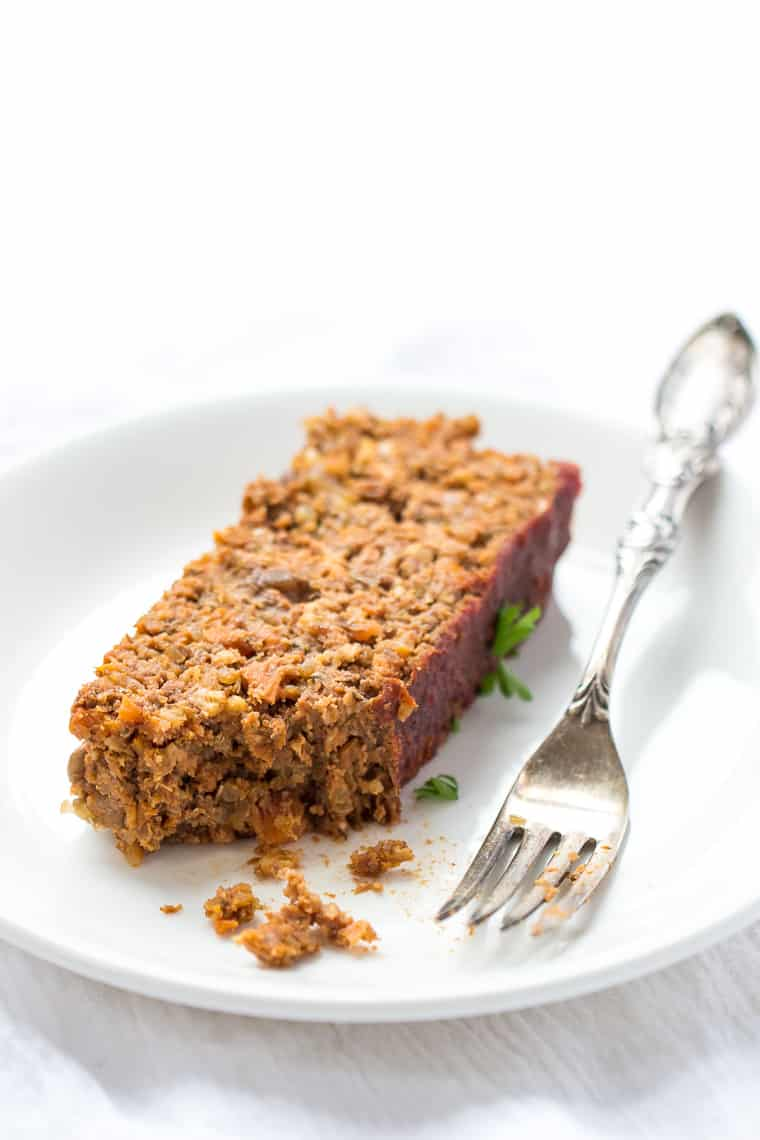 Slice of Vegan Lentil Meatloaf