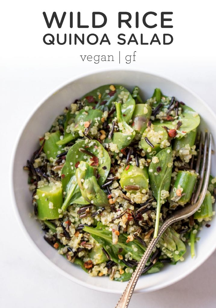 Asparagus, Wild Rice + Quinoa Salad with Lemon-Turmeric Vinaigrette