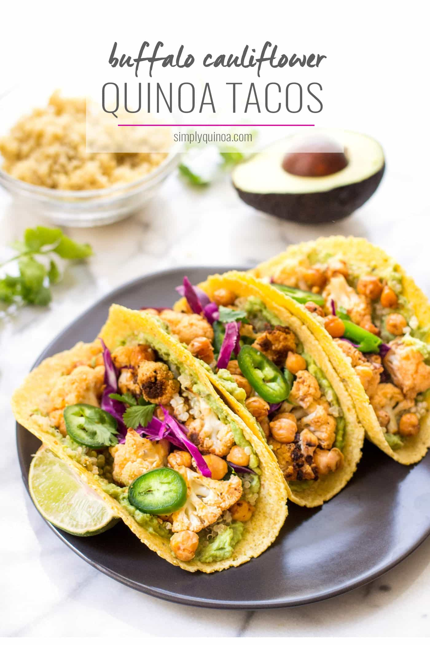 Buffalo Cauliflower & Quinoa Tacos -- quick, easy, healthy and SO FLAVORFUL! [vegan + gluten-free]