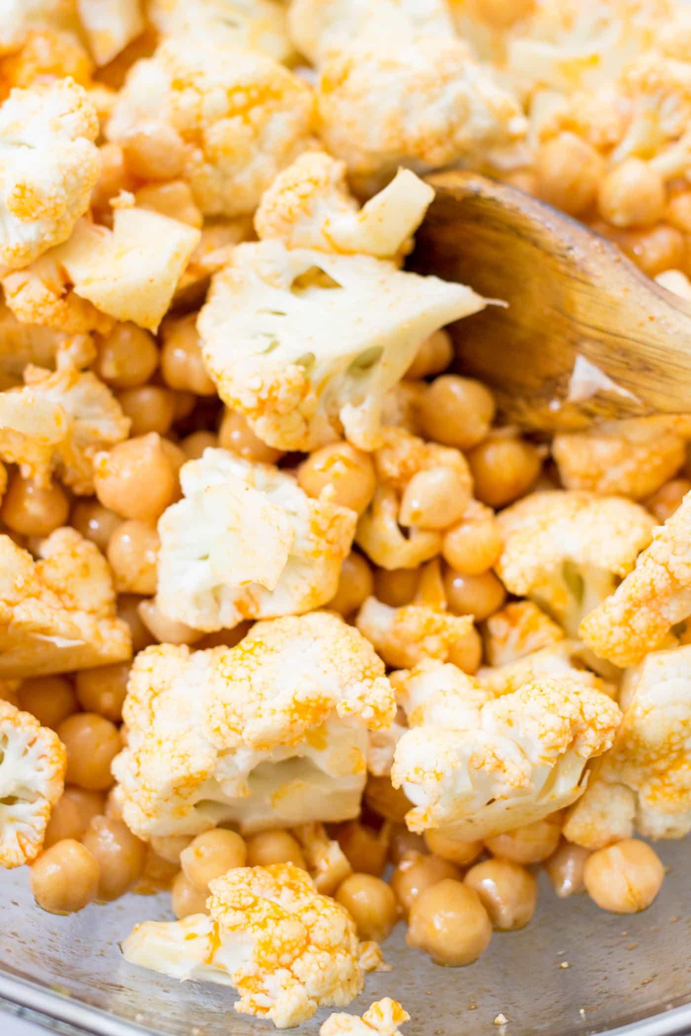 Cauliflower + Chickpeas make the BEST vegan taco filling!