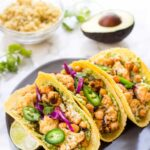Buffalo Cauliflower & Quinoa Tacos -- quick, easy, healthy and SO FLAVORFUL! [vegan + gluten-free]