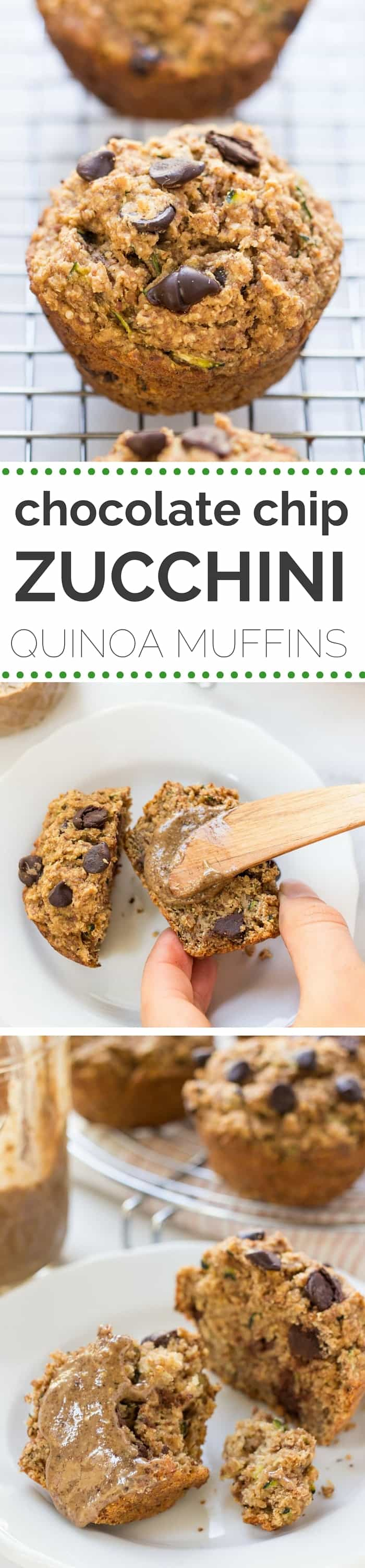 Skinny Chocolate Chip Zucchini Quinoa Muffins -- made without any oils, eggs, dairy, refined sugar OR gluten!