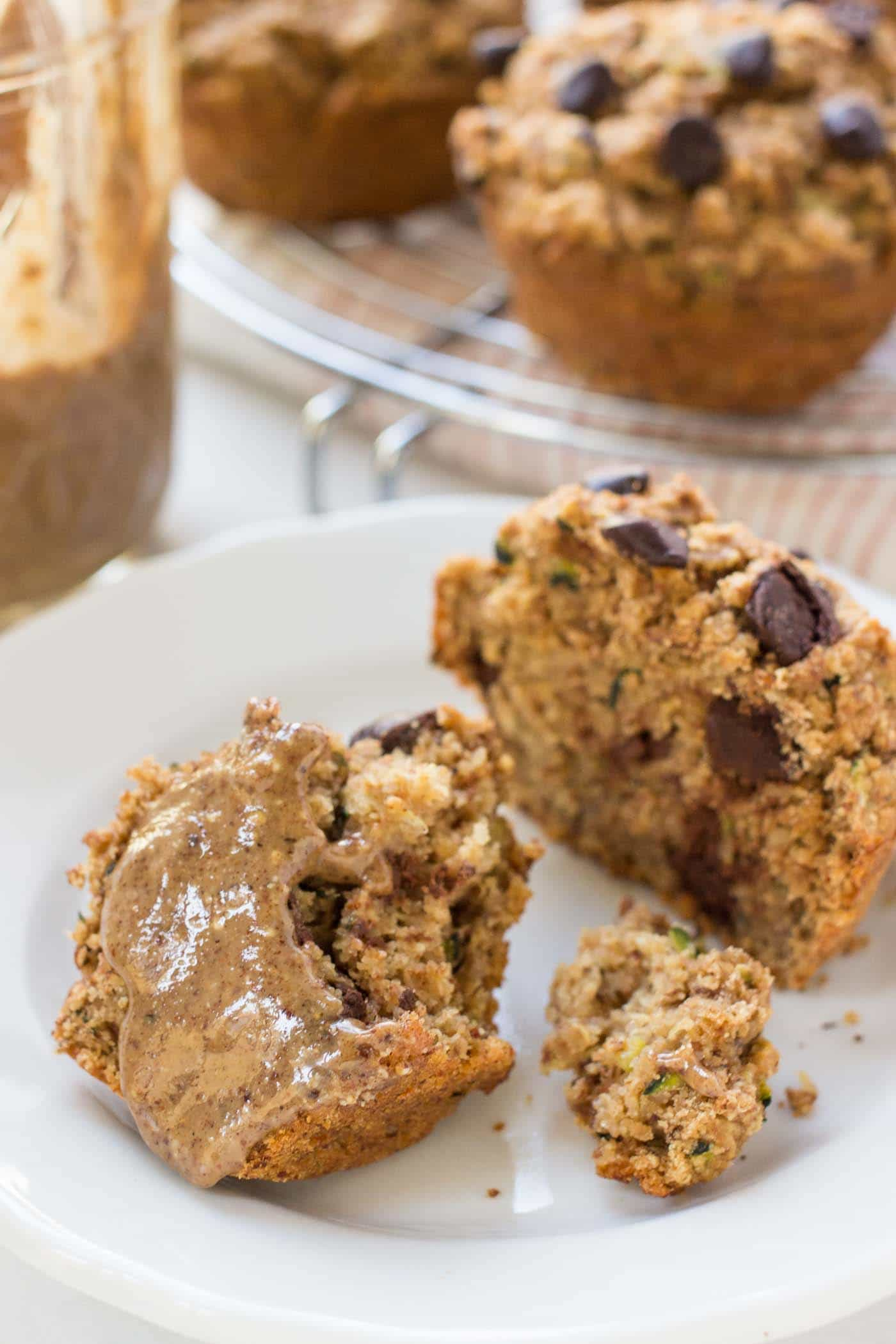 Healthy Chocolate Chip Zucchini Muffins -- made with a blend of oats, quinoa, almond and so many other superstar ingredients!