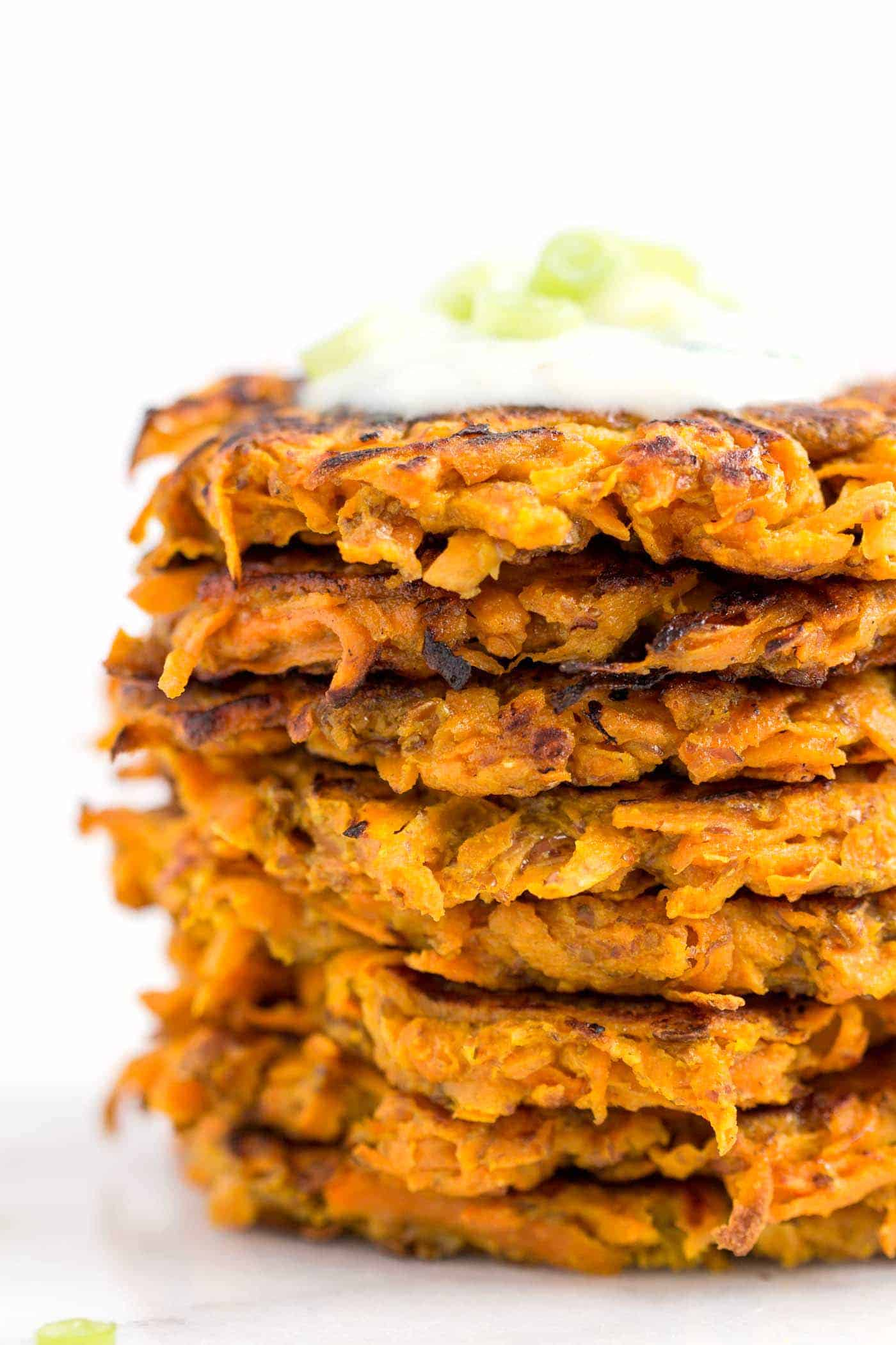 curried carrot and sweet potato fritters - with a vegan option