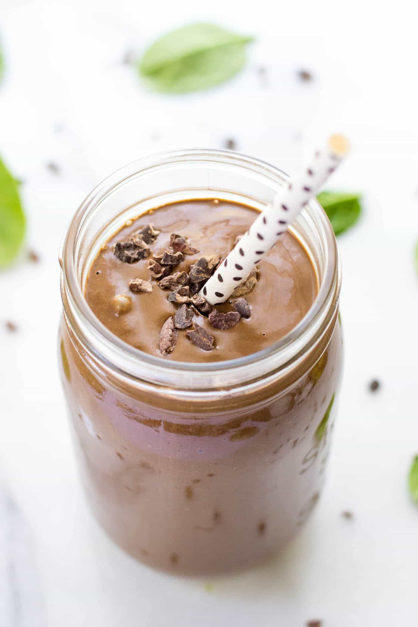 This is the BEST Chocolate Peanut Butter Smoothie ever - and perfect for post-workout!