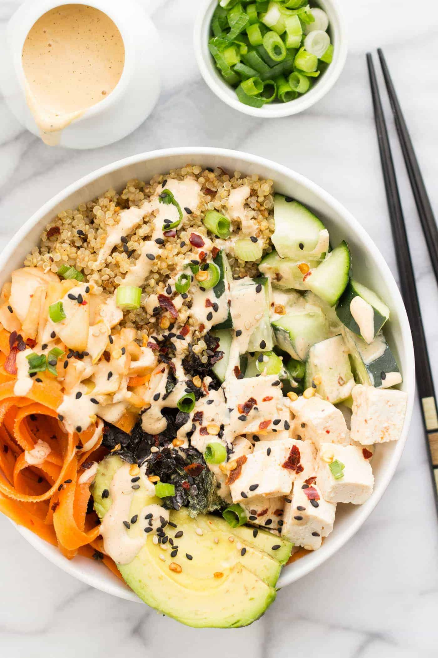 EASY Quinoa Sushi Bowls -- come together in under 20 minutes and taste just like sushi!