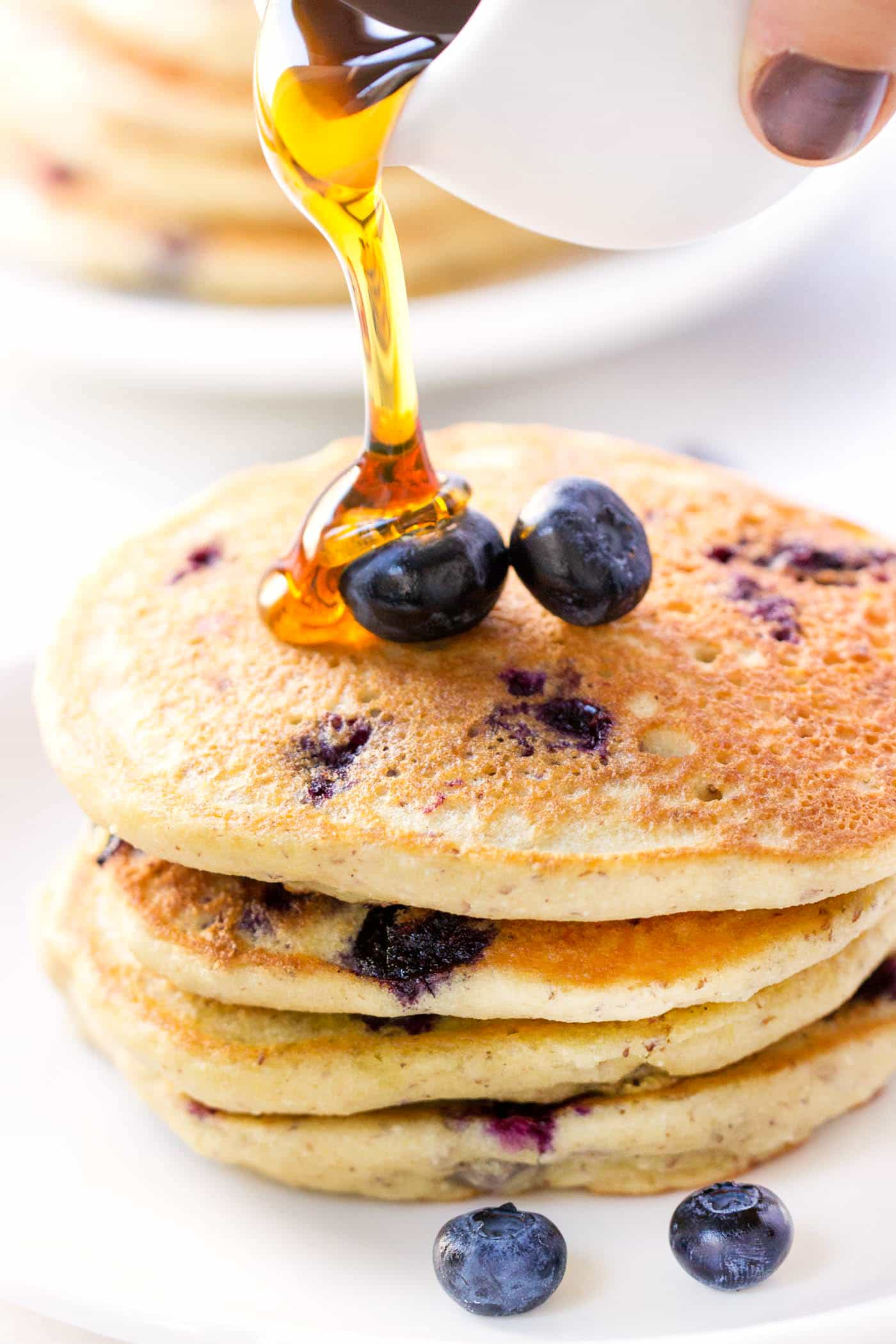(vegan!) Blueberry Quinoa Pancakes -- healthy, delicious and SO FLUFFY!