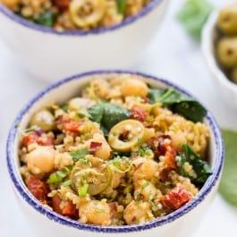 One-Pot Mediterranean Quinoa with Spinach + Chickpeas