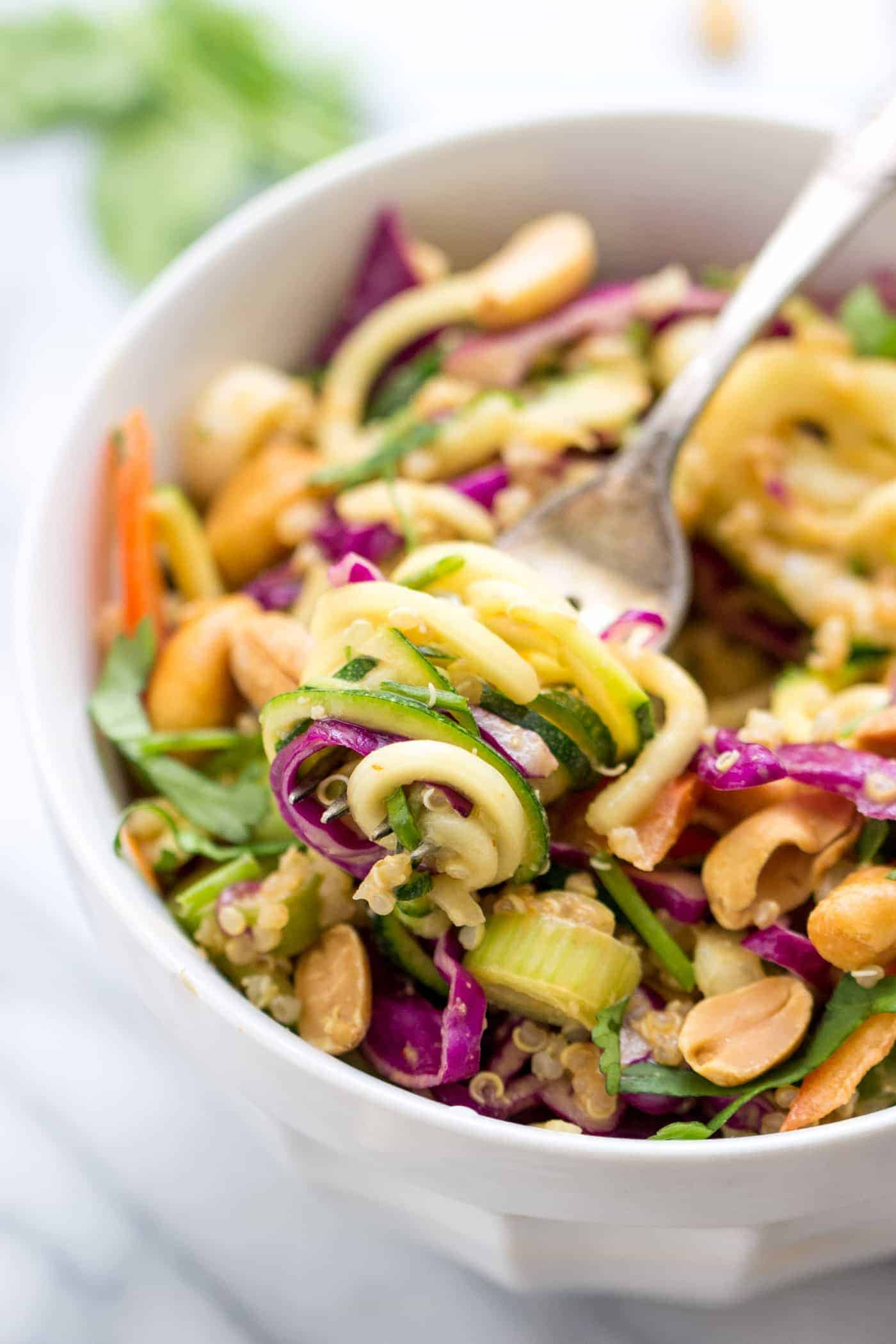 Pad Thai Zucchini Noodles -- arguably the easiest pad thai EVER! with tons of veggies, quinoa for protein and a healthy peanut butter sauce! [vegan + gluten-free]