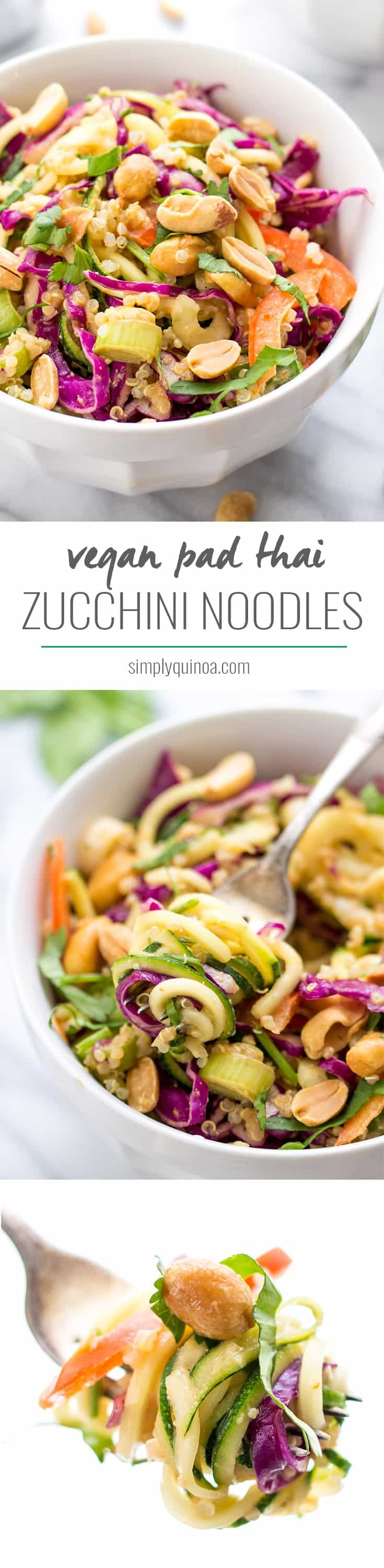 Zucchini Noodle Pad Thai -- a simple dish that doesn't require any cooking, is totally healthy and SUPER flavorful!