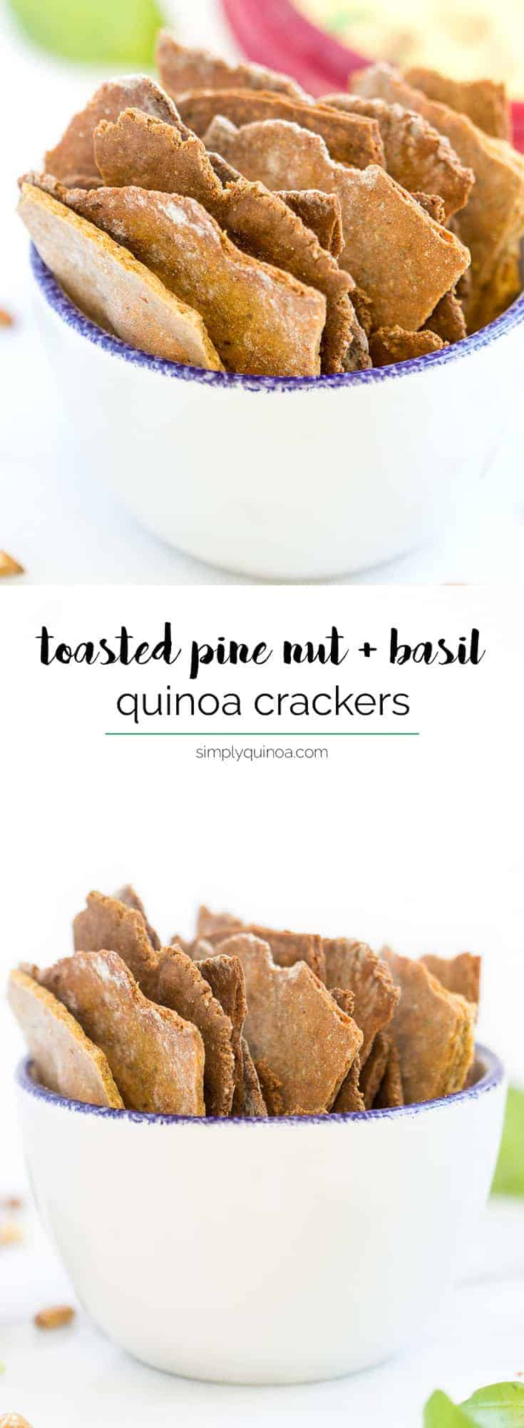 Pine Nut + Basil Quinoa Crackers -- made in a food processor, perfectly crispy and packed with healthy ingredients!