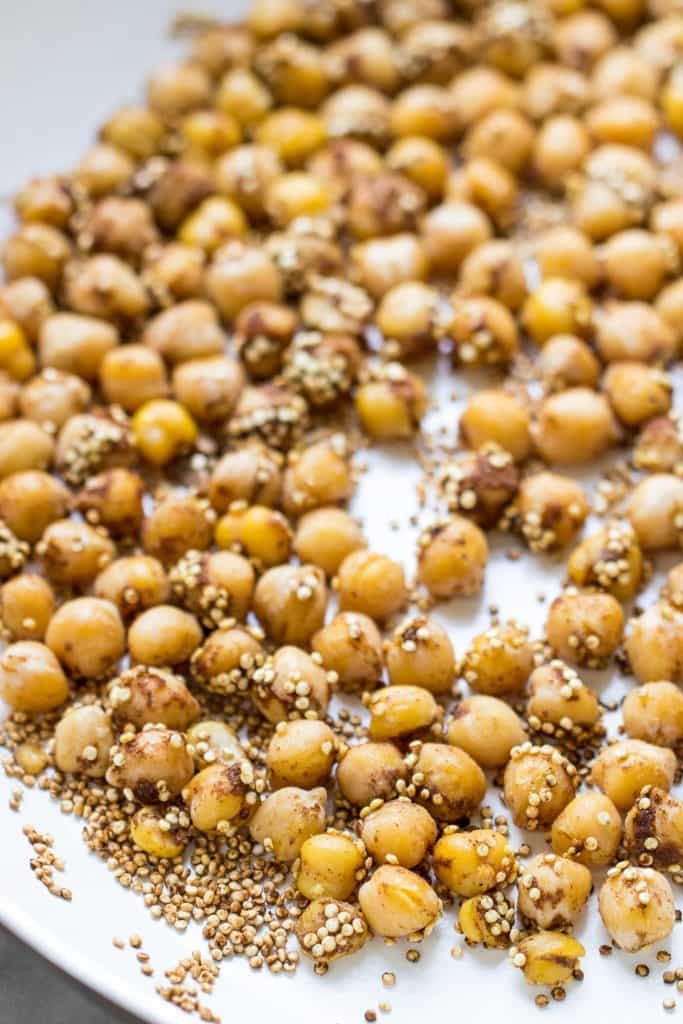 How to make the perfect warm chickpeas -- tossed in a bag with a little oil, tons of spices and then sauteed in a pan. Simple, easy, DELISH!