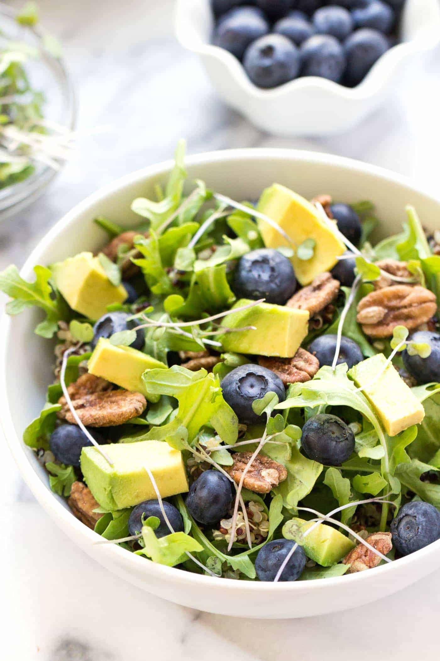 Blueberry Quinoa Power Salad -- with arugula, blueberries, quinoa, pecans, avocado + microgreens!