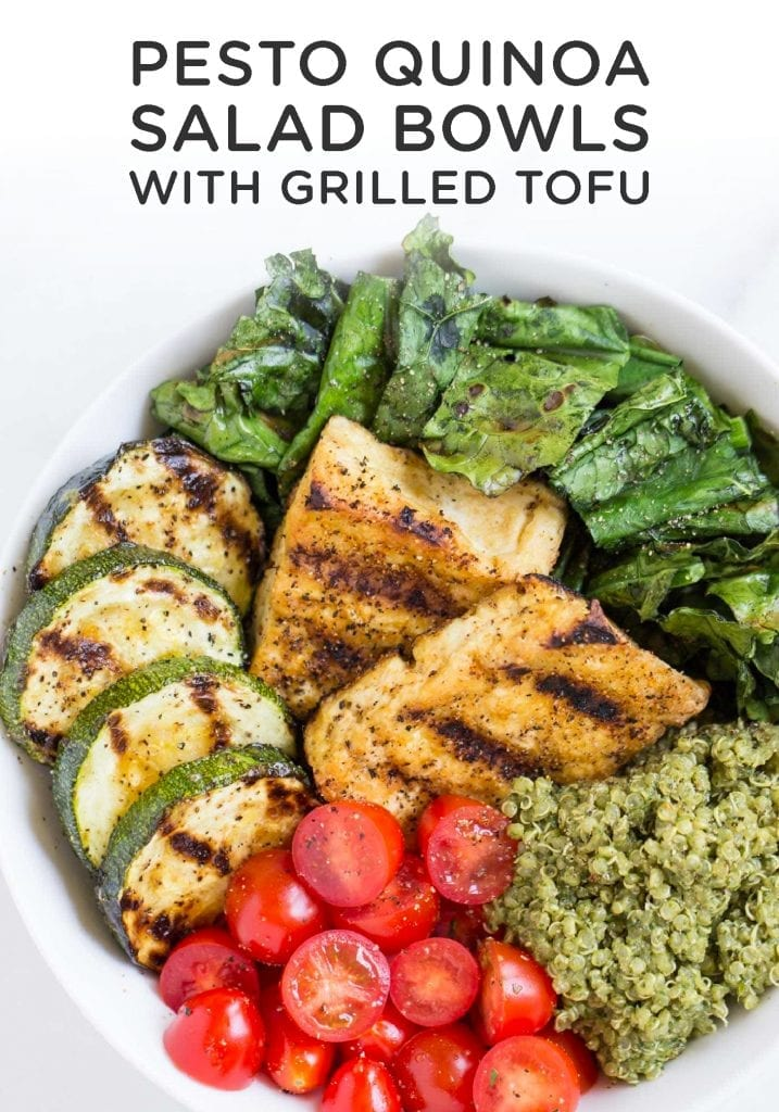 Pesto Quinoa Salad Bowls with Grilled Tofu