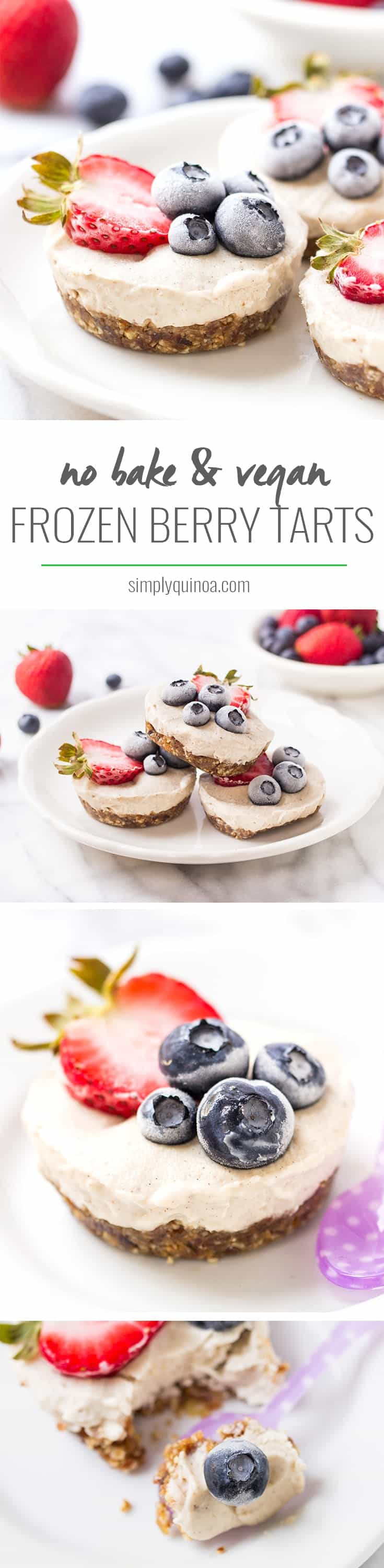 MINI VEGAN BERRY TARTS -- no-bake, healthy and they actually taste like an ice cream cake!