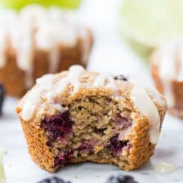 Blackberry Muffins with Lime-Coconut Butter Glaze