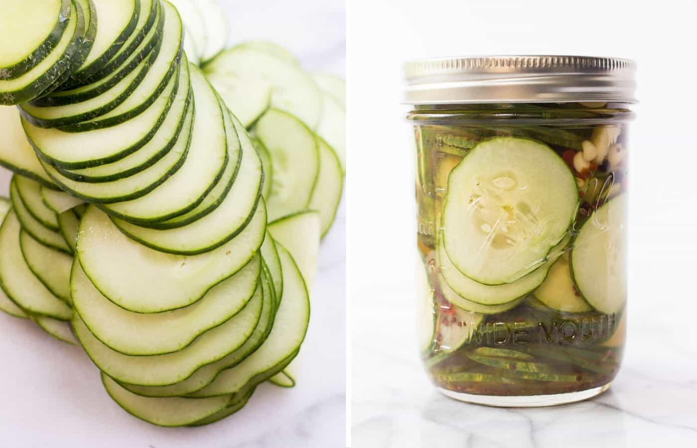 EASY PICKLED CUCUMBERS -- takes only 10 minutes to make, a few simple ingredients and they taste delicious!
